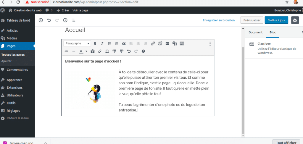 Exemple d'une page d'accueil WordPress