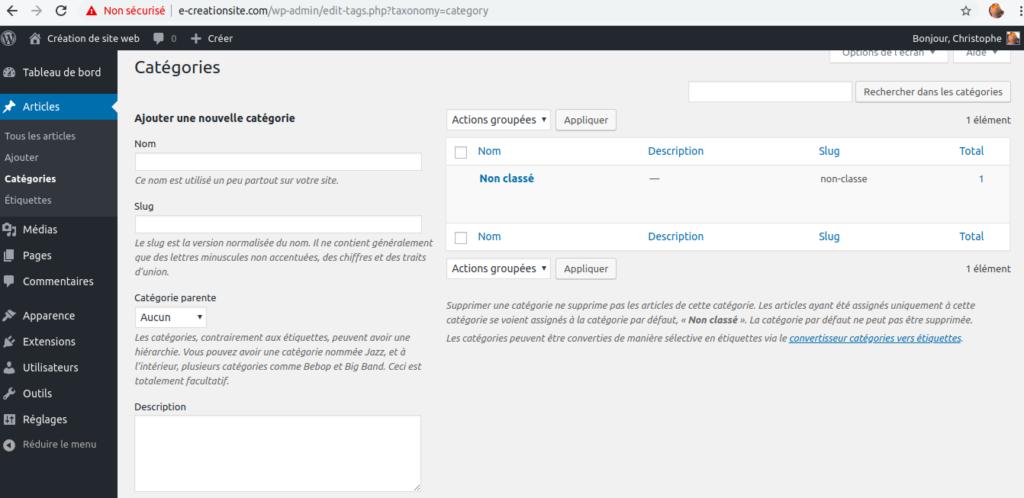 Comment Créer une catégorie WordPress